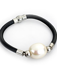 cheap -Women's Pearl Chain Bracelet Wrap Bracelet Leather Bracelet Simple Style Pearl Bracelet Jewelry White / Black / Purple For Wedding Party Daily Casual Sports / Paracord Bracelet / Gothic Jewelry