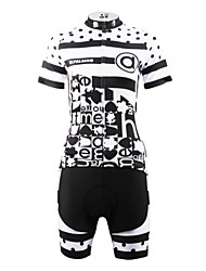 cheap -ILPALADINO Women's Short Sleeve Cycling Jersey with Shorts Black / White Polka Dot Plus Size Bike Shorts Jersey Clothing Suit Breathable Quick Dry Back Pocket Sports Polka Dot Mountain Bike MTB Road