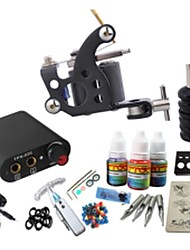 cheap -BaseKey Tattoo Machine Starter Kit - 1 pcs Tattoo Machines with 1 x 20 ml / 4 x 5 ml tattoo inks, Professional Mini power supply Case Not Included 19 W 1 steel machine liner & shader