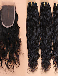 cheap -brazilian virgin hair with closure brazilian water wave lace closure with hair bundles 4pcs lot