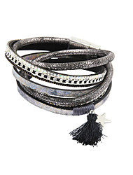 cheap -Women's Crystal Wrap Bracelet Leather Bracelet Leather Bracelet Jewelry Gray For Christmas Gifts Wedding Party Daily Casual Sports / Rhinestone