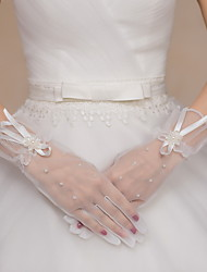 cheap -Tulle Wrist Length Glove Bridal Gloves / Party / Evening Gloves With Bowknot / Beading / Floral