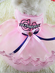 cheap -Dog Dress Dog Clothes Bowknot Blue Pink Terylene Costume For Spring &  Fall Summer Women's Wedding Fashion