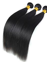 cheap -3 Bundles Hair Weaves Peruvian Hair Straight Human Hair Extensions Virgin Human Hair 300 g Natural Color Hair Weaves / Hair Bulk 8-26 inch / 10A