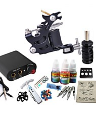 cheap -BaseKey Tattoo Machine Starter Kit - 1 pcs Tattoo Machines with 1 x 20 ml tattoo inks Mini power supply Case Not Included 1 steel machine liner & shader