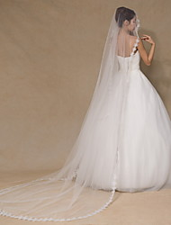 cheap -One-tier Lace Applique Edge Wedding Veil Chapel Veils with Embroidery Lace / Tulle / Classic