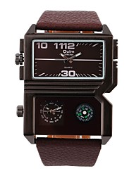 cheap -Men's Wrist Watch Quartz Leather Black / Brown Dual Time Zones Casual Watch Analog Classic - White Black Brown Two Years Battery Life / Stainless Steel / SOXEY SR626SW