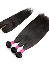 cheap -Brazilian Hair Straight Classic Virgin Human Hair Hair Weft with Closure Human Hair Weaves Human Hair Extensions