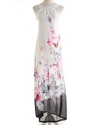 cheap -Beach Maxi Shift Dress - Print Turtleneck Summer White Screen Color
