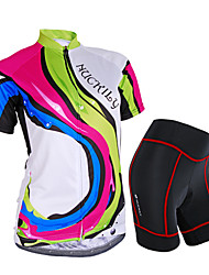 cheap -Nuckily Women's Short Sleeve Cycling Jersey with Shorts Camouflage Rainbow Bike Shorts Jersey Clothing Suit Waterproof Breathable 3D Pad Reflective Strips Sweat-wicking Sports Polyester Spandex