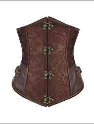cheap -Women's Hook & Eye / Lace Up Underbust Corset - Jacquard Brown Light Brown L XL XXL