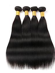 Недорогие -4 Связки Бразильские волосы Прямой Натуральные волосы 400 g Человека ткет Волосы Ткет человеческих волос Расширения человеческих волос / 8A / Прямой силуэт