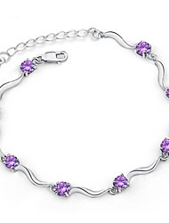 cheap -Women's Chain Bracelet Ladies Sterling Silver Bracelet Jewelry White / Purple For Christmas Gifts Wedding / Silver Plated