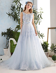 cheap -Princess Wedding Dresses Scoop Neck Chapel Train Lace Tulle Sleeveless Wedding Dress in Color with Crystal Bowknot Lace 2021
