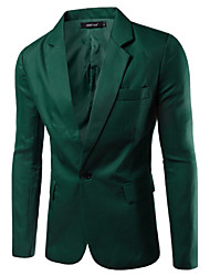 cheap -Men's Work Basic Spring / Fall Blazer, Solid Colored Notch Lapel Long Sleeve Cotton / Polyester Green / Blue / Khaki / Business Casual