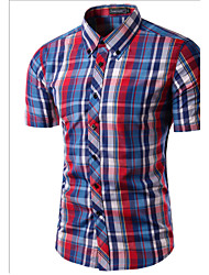 cheap -Men's Daily Weekend Slim Shirt - Plaid Print Button Down Collar Wine / Short Sleeve / Summer