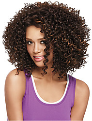 cheap -Synthetic Wig Curly Curly Wig Medium Length Light Brown Synthetic Hair Women's African American Wig Brown StrongBeauty