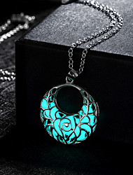 cheap -Women's Pendant Necklace Hollow Crescent Moon Magic Ladies Alloy Green Blue Light Blue Necklace Jewelry For Wedding Party Daily Casual Sports