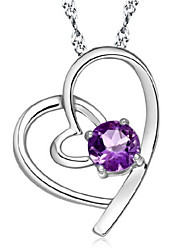 cheap -Amethyst Pendant Necklace Simulated Heart Love Hollow Heart Birthstones Silver White Lavender Necklace Jewelry 1pc For Thank You Valentine