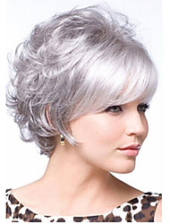 cheap -Synthetic Wig Curly Kardashian Style Layered Haircut Wig Silver Synthetic Hair Women's With Bangs White Wig Short StrongBeauty
