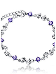cheap -Women's Chain Bracelet Twisted Infinity Ladies Sterling Silver Bracelet Jewelry Purple / White For Wedding Party Daily Casual