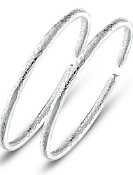 cheap -Women's Bracelet Bangles Classic Style cuff Classic Theme Ladies Silver Plated Bracelet Jewelry Silver For Wedding