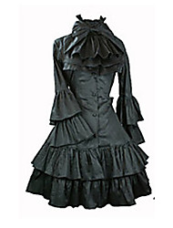 cheap -Gothic Lolita Punk Lolita Vintage Inspired Dress Women's Satin Japanese Cosplay Costumes Vintage Poet Sleeve Long Sleeve Medium Length / Pleated
