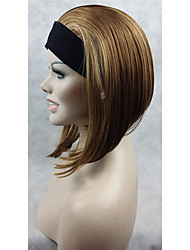 cheap -natural short straight 3 4 wig brown with highlights headband wigs ombre hair wig for women