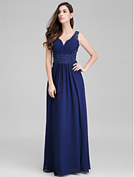 cheap -Sheath / Column Open Back Prom Formal Evening Dress Sweetheart Neckline Sleeveless Floor Length Chiffon with Appliques Side Draping 2020