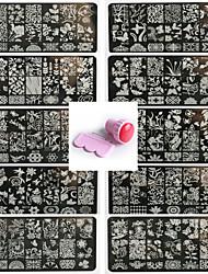cheap -10PCS Nail Art Seal Template Nail Lace Pattren Give 1 Set Seal Tool 12x6CM