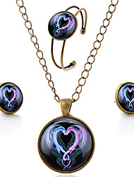 cheap -Unisex Jewelry Set Dragon Heart Love Ladies Simple Style Earrings Jewelry Brown For Party Daily Casual / Necklace / Bracelets & Bangles