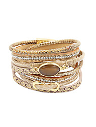 cheap -Women's Crystal Wrap Bracelet Leather Bracelet Layered Beads Twisted Infinity Ladies Personalized Luxury Multi Layer Leather Bracelet Jewelry Blue / Pink / Khaki For Christmas Gifts Wedding Party
