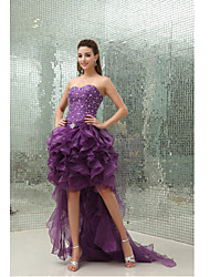 cheap -Ball Gown Sparkle & Shine Cocktail Party Dress Sweetheart Neckline Sleeveless Asymmetrical Organza with Beading Ruffles 2020