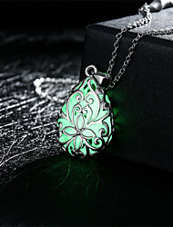 cheap -Women's Pendant Necklace Drop Flower Magic Ladies Carved Luminous Alloy Green Blue Light Blue Necklace Jewelry For Wedding Party Daily Casual Sports