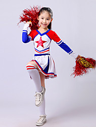cheap -Cheerleader Costumes Outfits Performance Polyester Ruffles Long Sleeve High Top / Skirt
