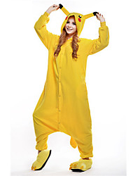 cheap -Adults' Kigurumi Pajamas Pika Pika Animal Onesie Pajamas Polar Fleece Yellow Cosplay For Men and Women Animal Sleepwear Cartoon Festival / Holiday Costumes