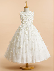 cheap -A-Line Tea Length Flower Girl Dress - Lace Sleeveless Jewel Neck with Flower / First Communion