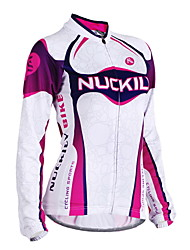 cheap -Nuckily Women's Long Sleeve Cycling Jersey Winter Fleece Polyester Purple Stripes Bike Jersey Top Mountain Bike MTB Road Bike Cycling Windproof Breathable Anatomic Design Sports Clothing Apparel