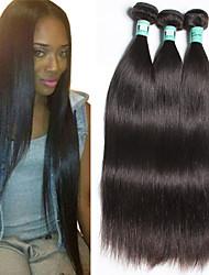 cheap -3 Bundles Peruvian Hair Straight Natural Color Hair Weaves / Hair Bulk Human Hair Weaves Human Hair Extensions