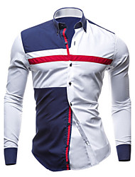 cheap -Men's Daily Plus Size Slim Shirt - Color Block Blue & White, Patchwork Spread Collar White / Long Sleeve / Spring / Fall