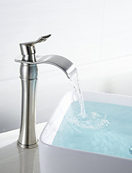 cheap -Bathroom Sink Faucet - Waterfall Nickel Brushed Vessel Single Handle One HoleBath Taps