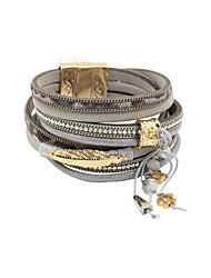 cheap -Women's Crystal Wrap Bracelet Leather Bracelet Beads Feather Luxury Leather Bracelet Jewelry Blue / Pink / Khaki For Christmas Gifts Wedding Party Daily Casual Sports / Imitation Diamond / Rhinestone