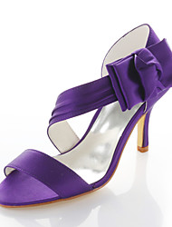 cheap -Women's Stiletto Heel Satin Flower Elastic Fabric Spring / Summer Purple / Wedding / Party & Evening / EU41