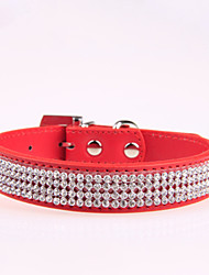 cheap -Dog Collar Adjustable / Retractable Rhinestone PU Leather Red Blue Pink