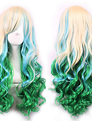 cheap -Synthetic Wig Curly Body Wave Minaj Body Wave Asymmetrical Wig Long Rainbow Synthetic Hair Women's Natural Hairline Green