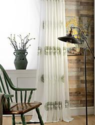 abordables -les rideaux purs faits sur commande ombragent deux panneaux / broderie / salon