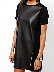 cheap -Women's Solid Leather Fancy Party Clubwear Loose Dress