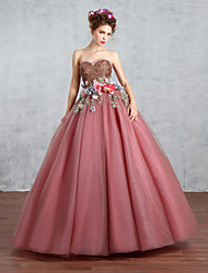 cheap -Princess Wedding Dress Wedding Dresses in Color Floor-length Sweetheart Lace / Tulle with Appliques / Beading / Flower / Pearl