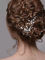 cheap -Women's Hairpins For Wedding Party Crystal / Rhinestone Pearl Crystal White