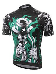 cheap -XINTOWN Men's Short Sleeve Black / Green Bike Jersey Breathable Quick Dry Ultraviolet Resistant Sports Elastane Terylene Lycra Clothing Apparel / High Elasticity